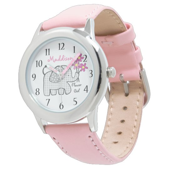 Elephant Gingham Flower Girl Wrist Watch
