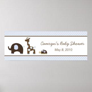 Elephant & Giraffe in Blue Baby Shower Banner Poster