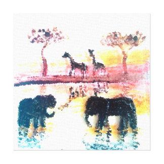Elephant, Giraffe Safari Sunset Art Canvas Print