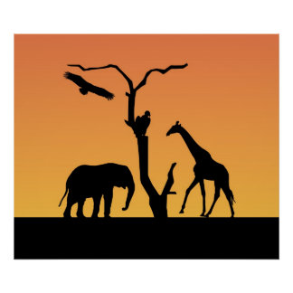 Elephant & Giraffe silhouette poster, print