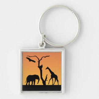 Elephant & Giraffe silhouette sunset keychain