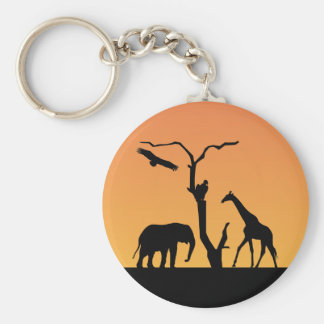 Elephant & Giraffe silhouettesunset  keychain