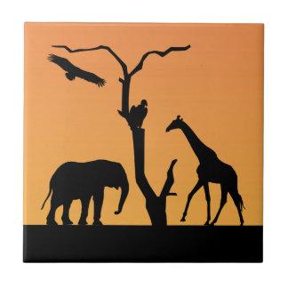Elephant & Giraffe sunset silhouette tile, trivet