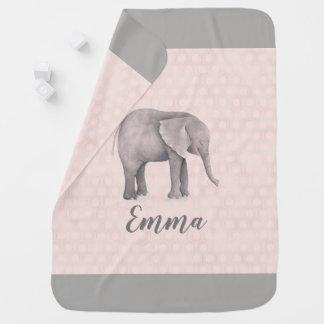 Elephant Girl with Pink Geometric Background Baby Blanket