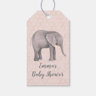 Elephant Girl with Pink Geometric Background Gift Tags