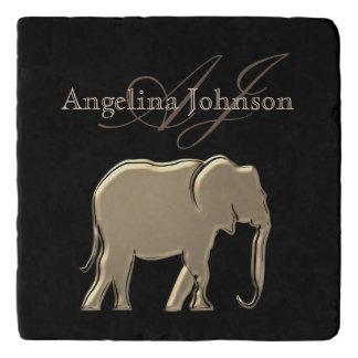 Elephant Golden Black Monogram Elegant Luxurious Trivet