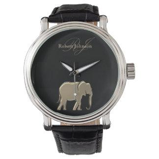Elephant Golden Black Monogram Elegant Luxurious Watch