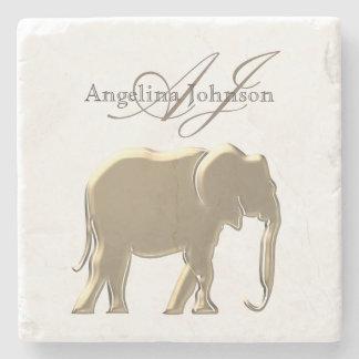 Elephant Golden Elegant  Monogram Classy Custom Stone Coaster