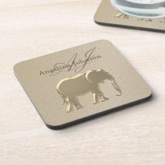 Elephant Golden Elegant Sandstone Monogram Classy Coaster