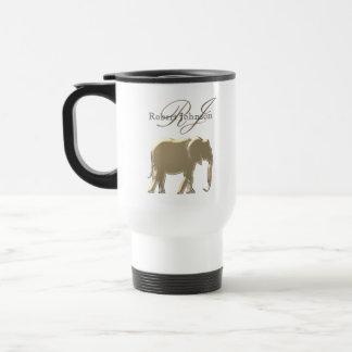 Elephant Golden Elegant Sandstone Monogram Classy Travel Mug
