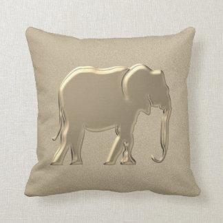 Elephant Golden Silhouette Elegant Glamour Emboss Throw Pillow