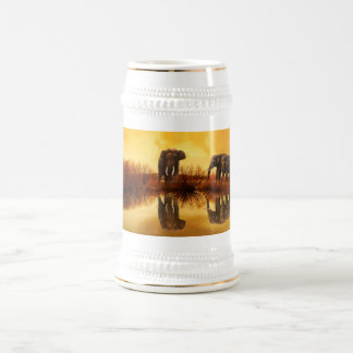 Elephant golden sunset reflection tankard, stein