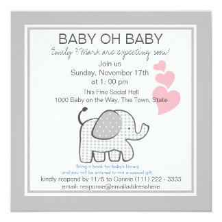 """Elephant Gray Gingham Baby Shower 5.25"""" Square Invitation Card"""