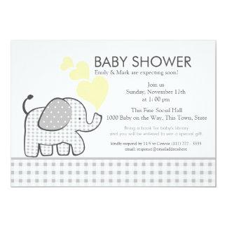 "Elephant Gray Gingham Baby Shower 5"" X 7"" Invitation Card"