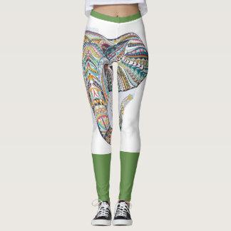 Elephant Green leggings printed