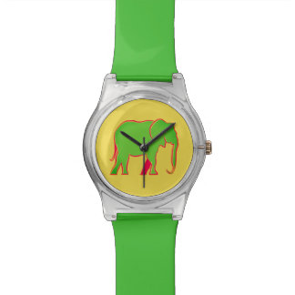 Elephant Green Silhouette Stylish Simple Neon Cool Watch