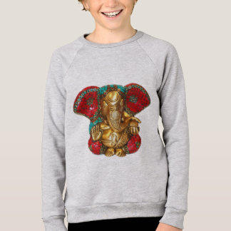 Elephant Head Brass Statue Indian Hindu Temple Art Sweatshirt