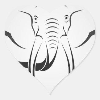Elephant Head Heart Sticker