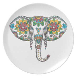 Elephant Head Mandala Tattoo Plate
