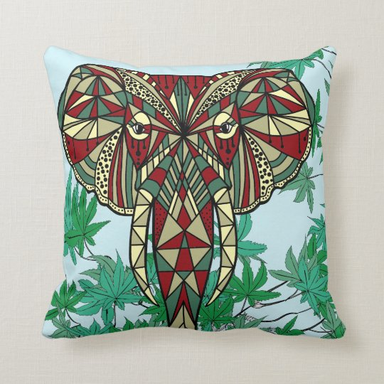 Elephant head red green ivory leaves throw pillow