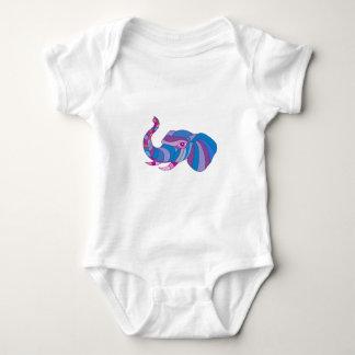 Elephant Head Side Low Polygon Baby Bodysuit