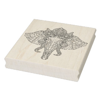 Elephant Head Zendoodle Rubber Stamp