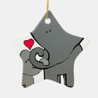 Elephant Hearts - An unforgettable love. Ceramic Ornament