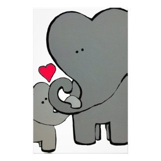 Elephant Hearts - An unforgettable love. Stationery Design
