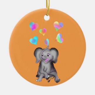 Elephant Hearts by The Happy Juul Company Ceramic Ornament