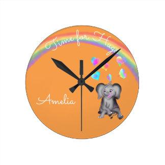 Elephant Hearts by The Happy Juul Company Round Clock