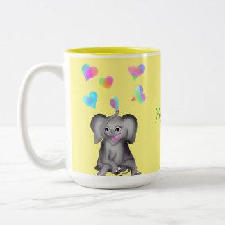 Elephant Hearts by The Happy Juul Company Two-Tone Coffee Mug