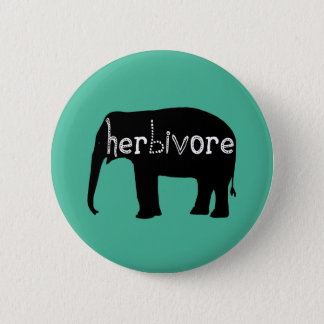 Elephant - Herbivore - Blue 2 Inch Round Button