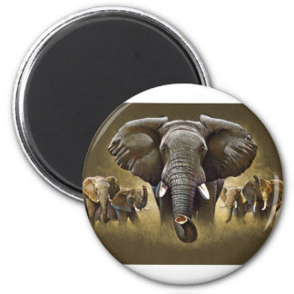 Elephant Herd Charging 2 Inch Round Magnet