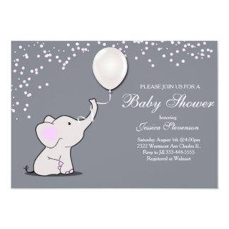 Elephant holding balloon baby shower invitation