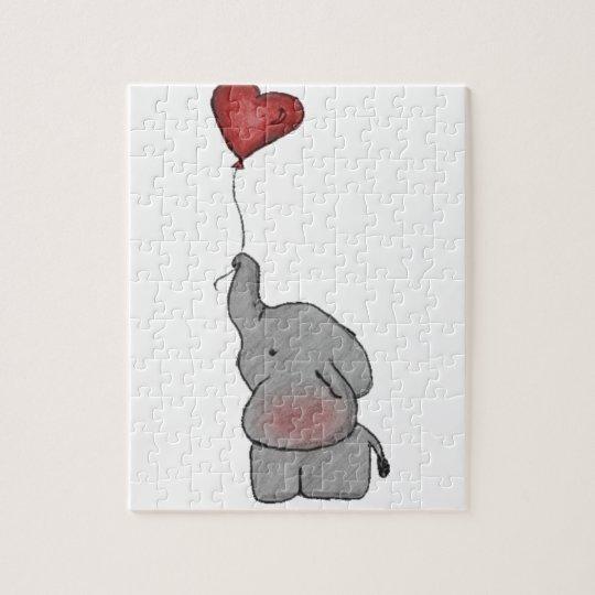 Elephant Holding Balloon Jigsaw Puzzle