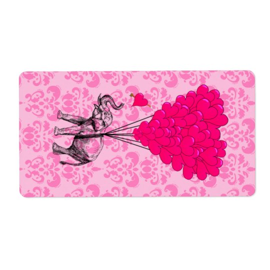 Elephant holding heart on pink damask shipping label