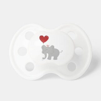 Elephant holding heart-shaped balloon baby pacifier
