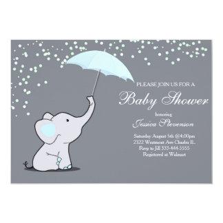 Elephant holding umbrella baby shower invitation