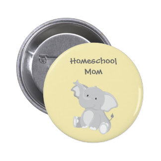 Elephant Homeschool Mom 2 Inch Round Button