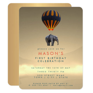 Elephant & Hot Air Balloon | Party Invitation Card