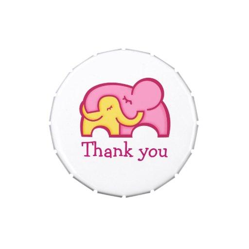 Elephant hug thanks you favor candy candy tin