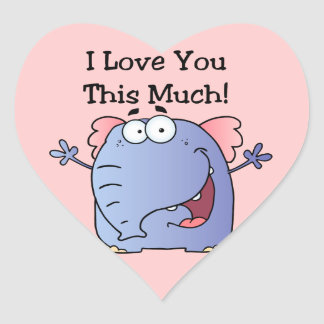 Elephant I Love You This Much Heart Sticker