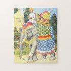 Elephant Illustration Vintage Childrens Book Jigsaw Puzzle
