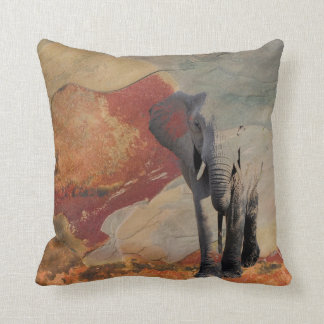 Elephant in a Stone Landscape Throw Pillow