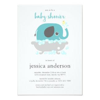 Elephant in Bathtub Boy Baby Shower Invitation