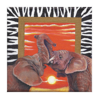 Elephant in Love Sunset and Zebra print