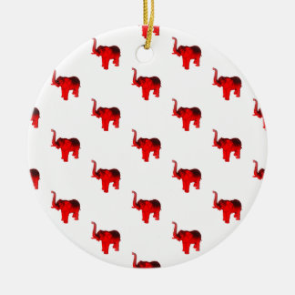 Elephant In Red Ceramic Ornament