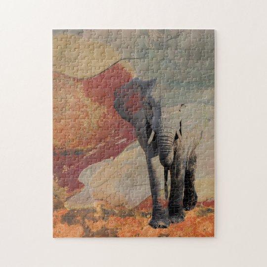Elephant in Rocky Landscape Jigsaw Puzzle