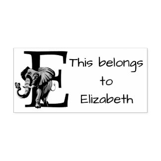 Elephant Initial Rubber Stamp