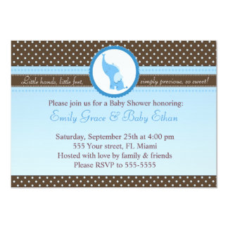 Elephant Invitation Baby Boy Shower Blue Brown